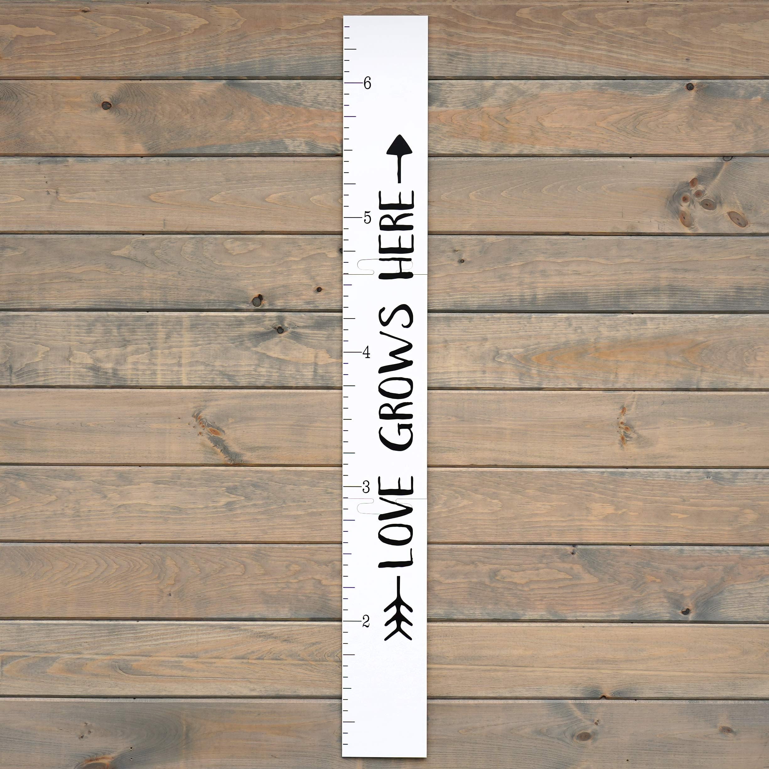 Growth Chart Art | Giant Ruler Wooden Height Chart | Wood Growth Chart for Babies, Kids, Boys & Girls | Love Grows Here | White Tribal