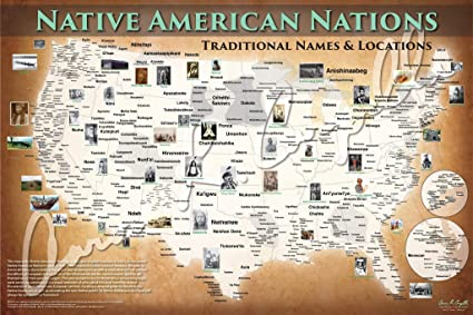 Amazon com: Map of Native American Tribal Nations Poster