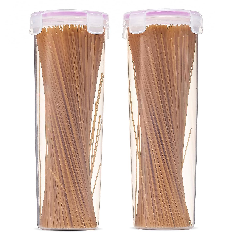 Komax Biokips Tall Food Storage Spaghetti Noodle Pasta Container (44-oz) | [2 Piece Set] Pasta Storage Containers | Airtight Spaghetti Container Storage With Locking Lids | BPA-Free & Dishwasher Safe