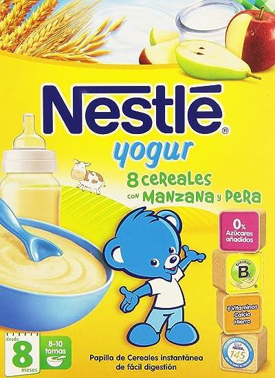 Nestlé Papillas 8 Cereales con yogur, Pera y Manzana, Alimento Elaborado a Base de