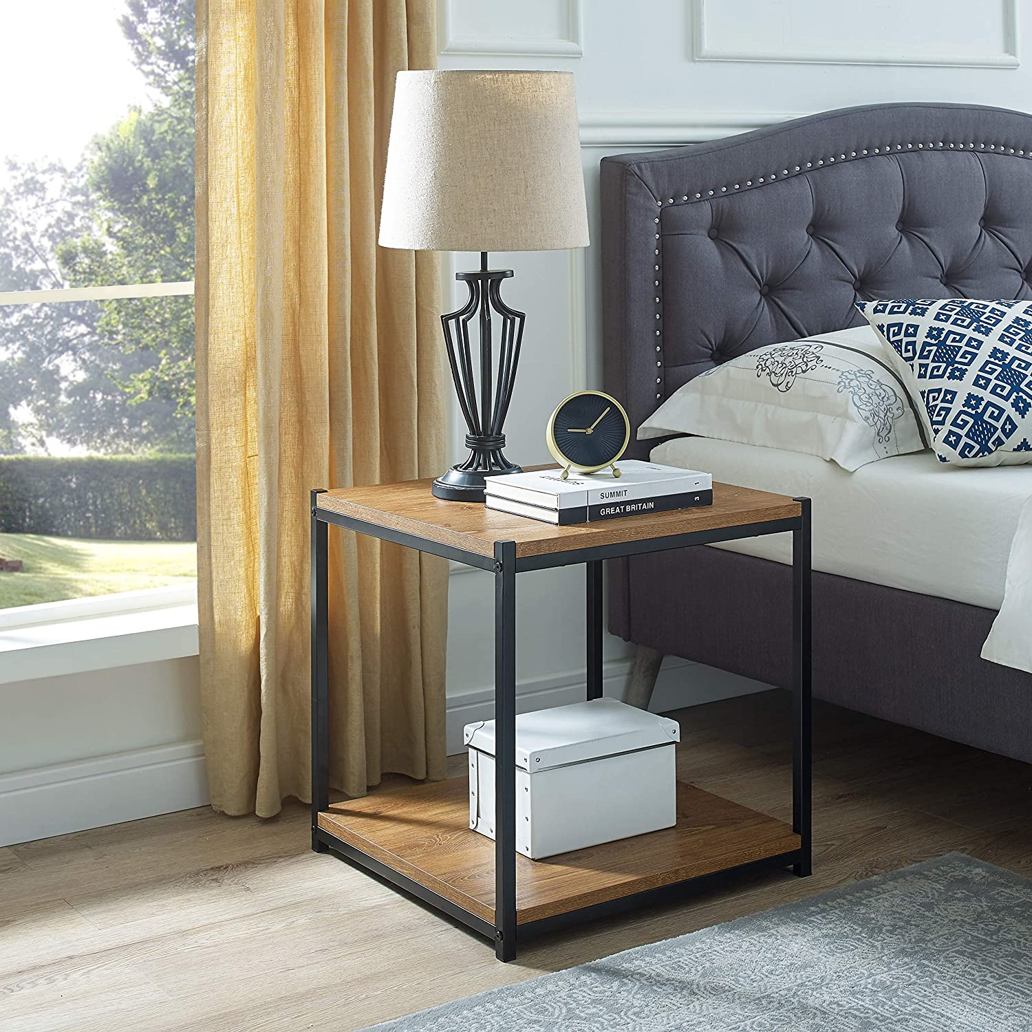 Tall Side End Table by CAFFOZ Furniture Designs |Brooklyn Series | Night Stand | Coffee Table |Storage Shelf | Sturdy | Easy Assembly | Brown Oak Wood Look Accent Furniture with Metal Frame