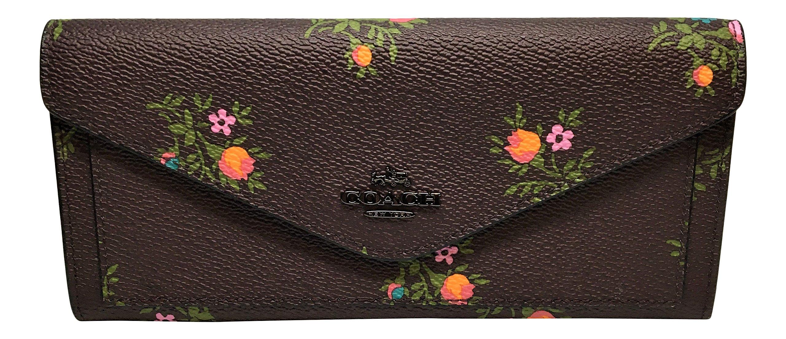Coach Cross Stitch Floral Print Soft Wallet Dark Oxblood