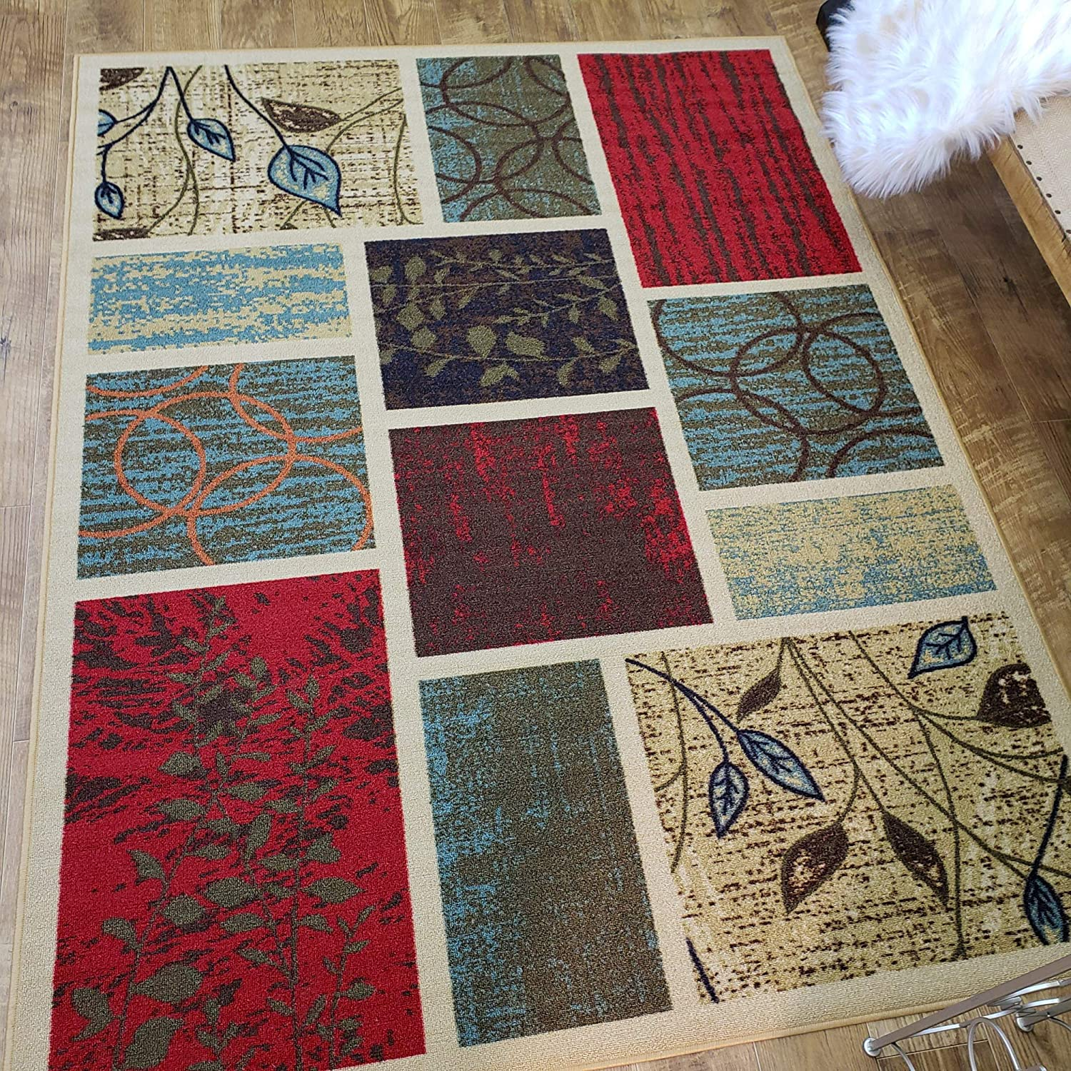Area Rug 5x7 Beige Squares Kitchen Rugs and mats | Rubber Backed Non Skid Living Room Bathroom Nursery Home Decor Under Door Entryway Floor Non Slip Washable | Made in Europe