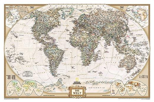 Executive Weltkarte, politisch 1 : 39 393 000 Plano