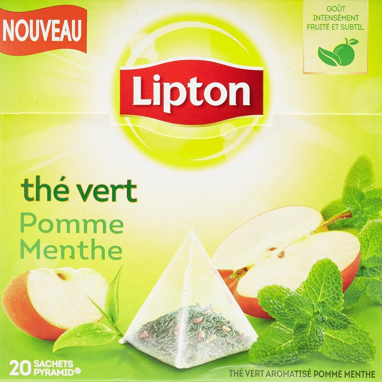 Préférence Lipton Thé Vert Pomme Menthe 20 Sachets 28g: Amazon.fr: Epicerie RU24