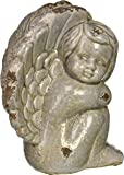"""The Winged Cherub Angel Garden Statue, 9"""" High, Antiqued Glaze Over Terracotta, By Whole House Worlds"""