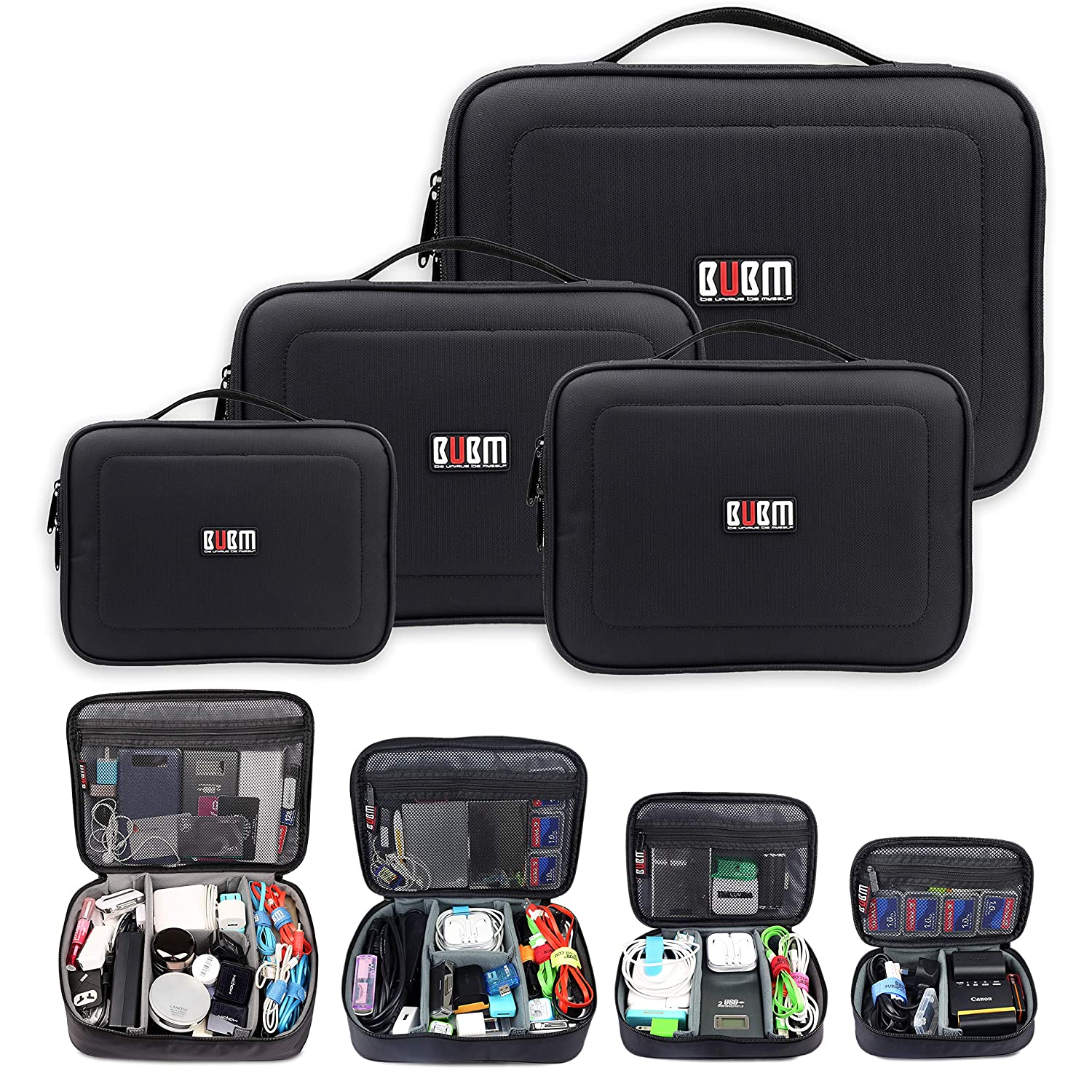 Double Layer Travel Carrying Case Grey Suitable for USB Drive SAMSHOWS Cable Organiser Bag Charger Headphone and IPad etc