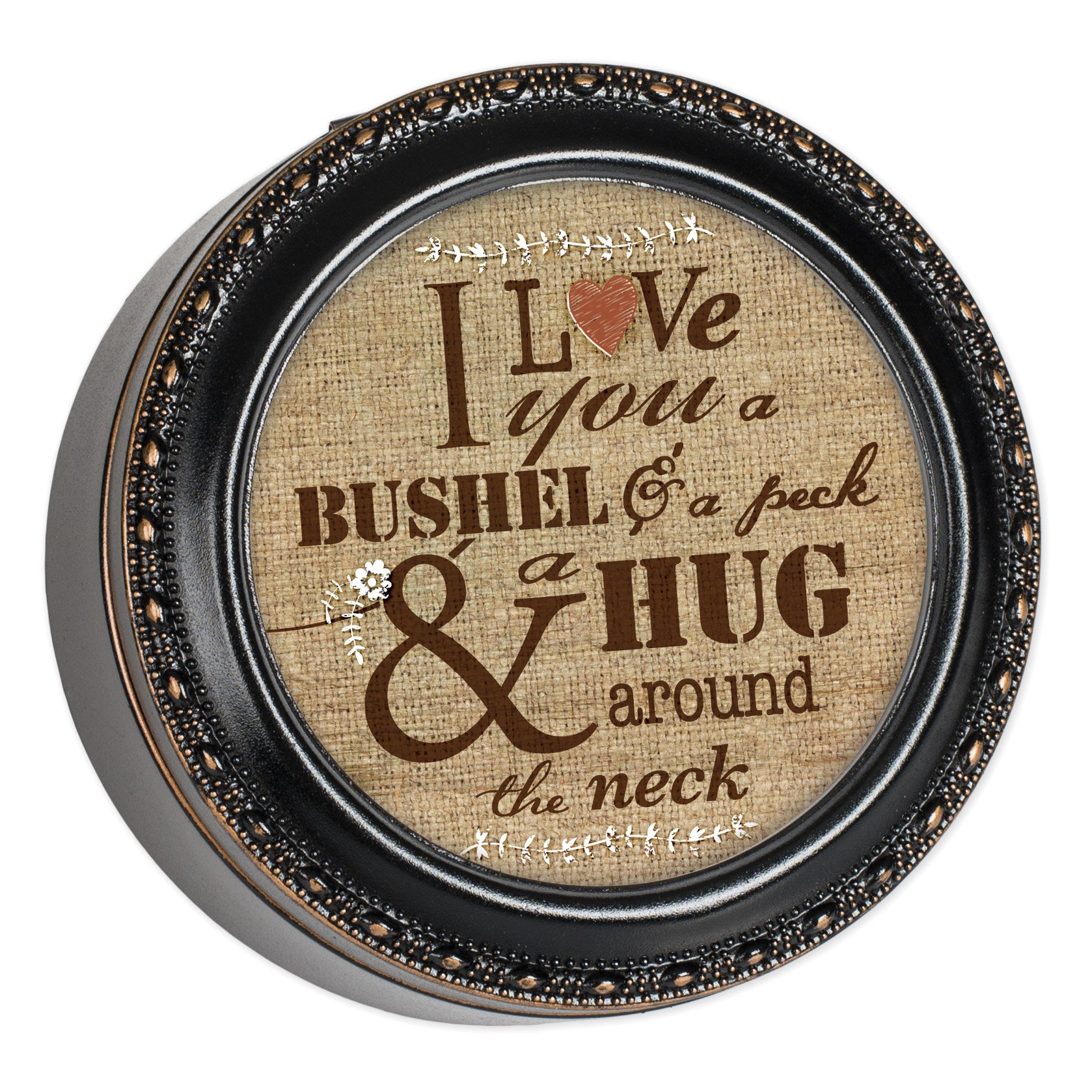 Cottage Garden I Love You A Bushel & A Peck Black with Gold Rope Trim Round Jewelry Keepsake Box