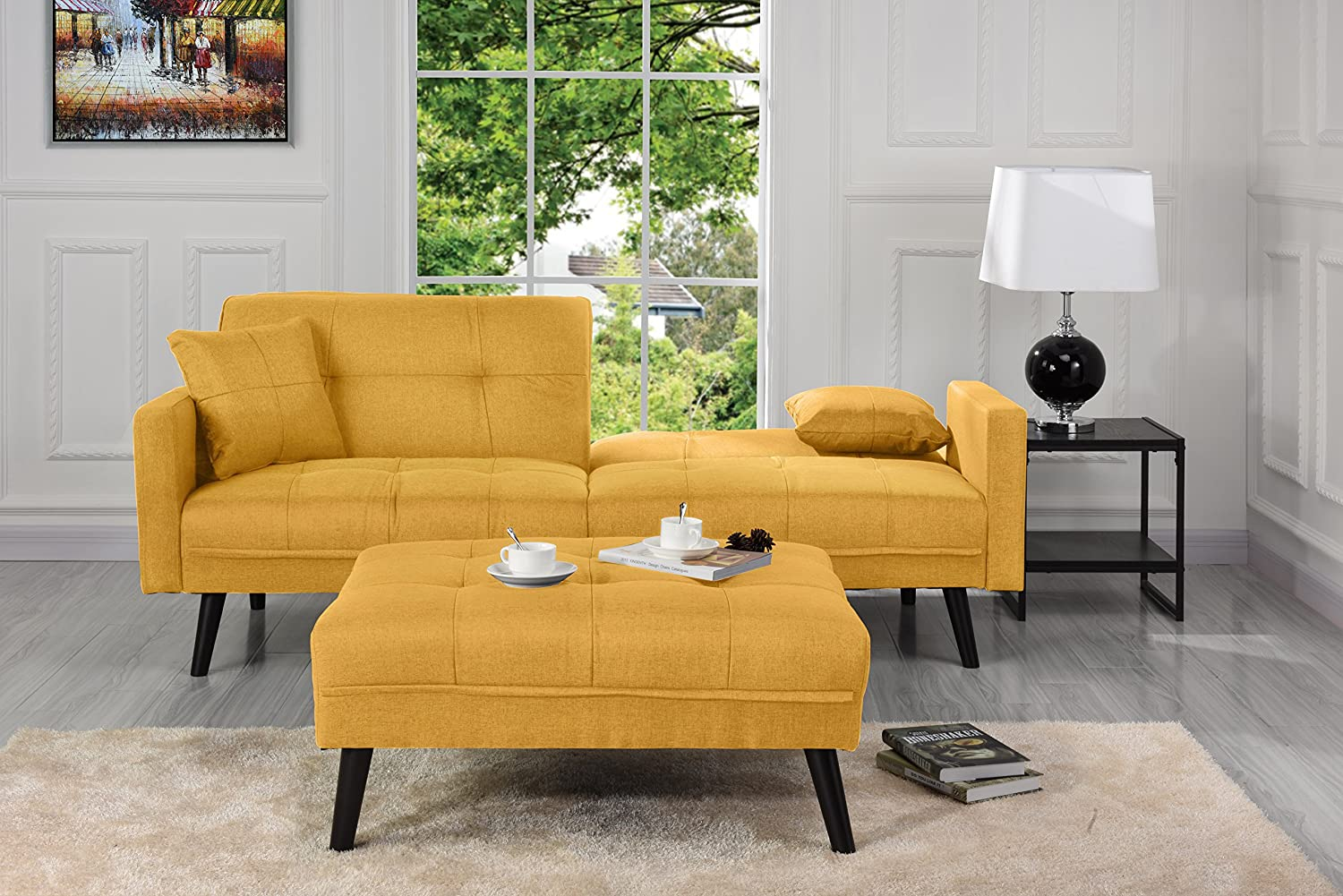 Amazon com sofamania mid century modern linen fabric futon small space living room couch yellow kitchen dining