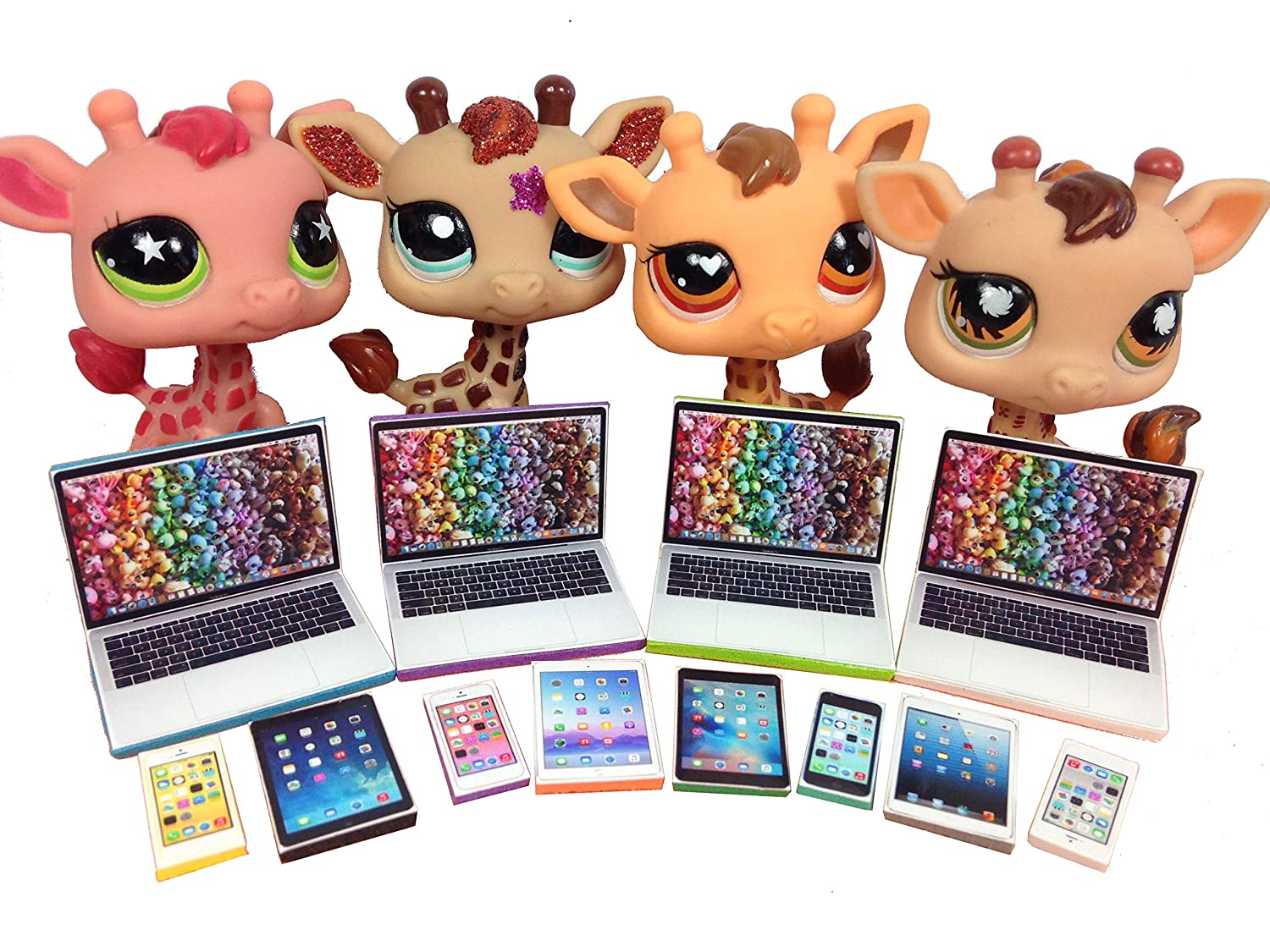 LPS Littlest Pet Shop 12 Accessories Lot Set 4 Laptops, 4 Tablets, 4 Phones PET NOT INCLUDED