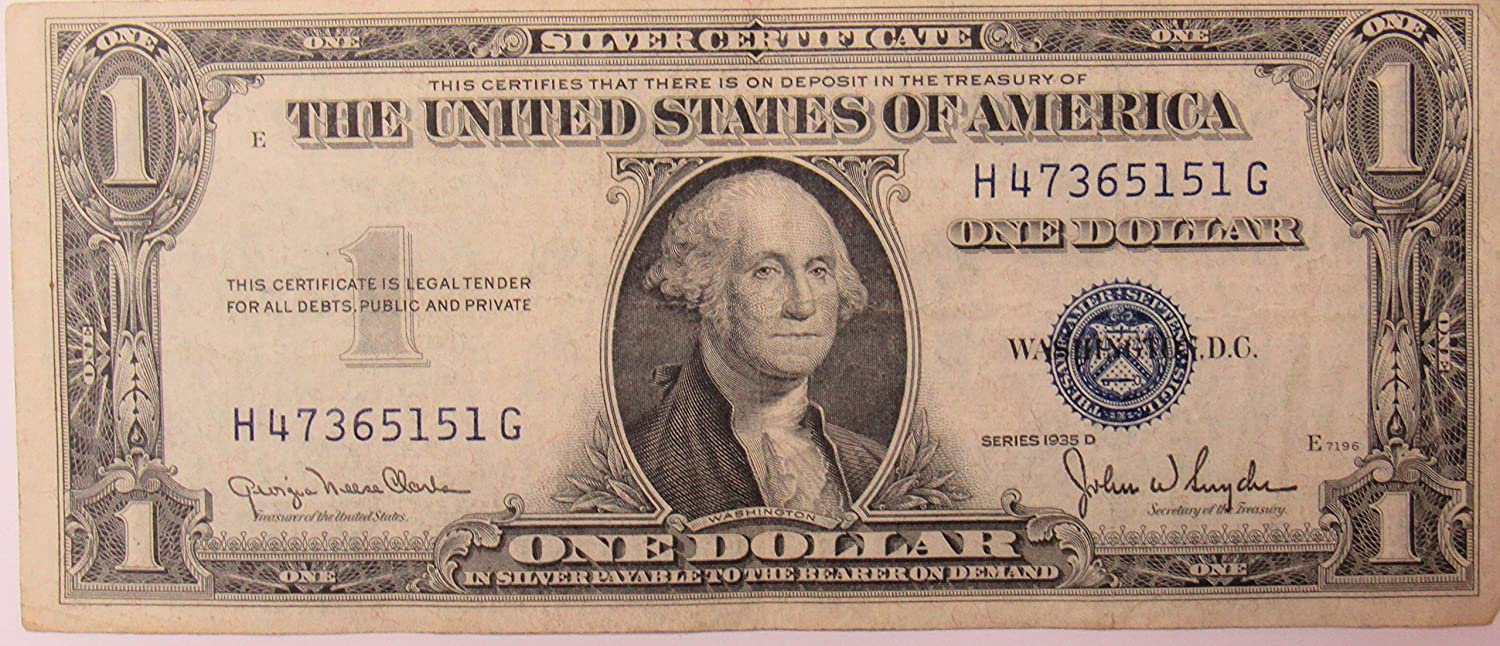 Amazon 1935 Series D Silver Certificate In Very Good Condition