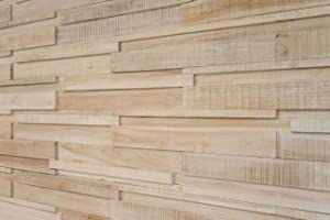 WoodyWalls Long 3D Wall Panels | Wood Planks are Made from 100% Teak | Each Wood Panel is Handmade and Unique | Premium Set of 6 3D Wall Decor Panels | DIY Wood Panels (9.2 sq.ft.) Iceberg