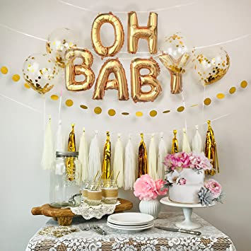 Amazon Baby Shower Decorations Gold White Oh Baby Foil