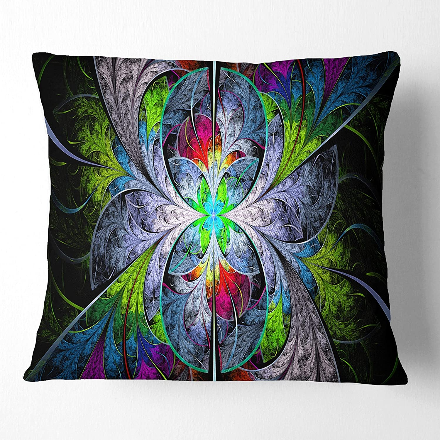 Designart CU15854-26-26 Multi Color Fractal Stained Glass' Abstract Cushion Cover for Living Room, Sofa Throw Pillow 26 in. x 26 in. in