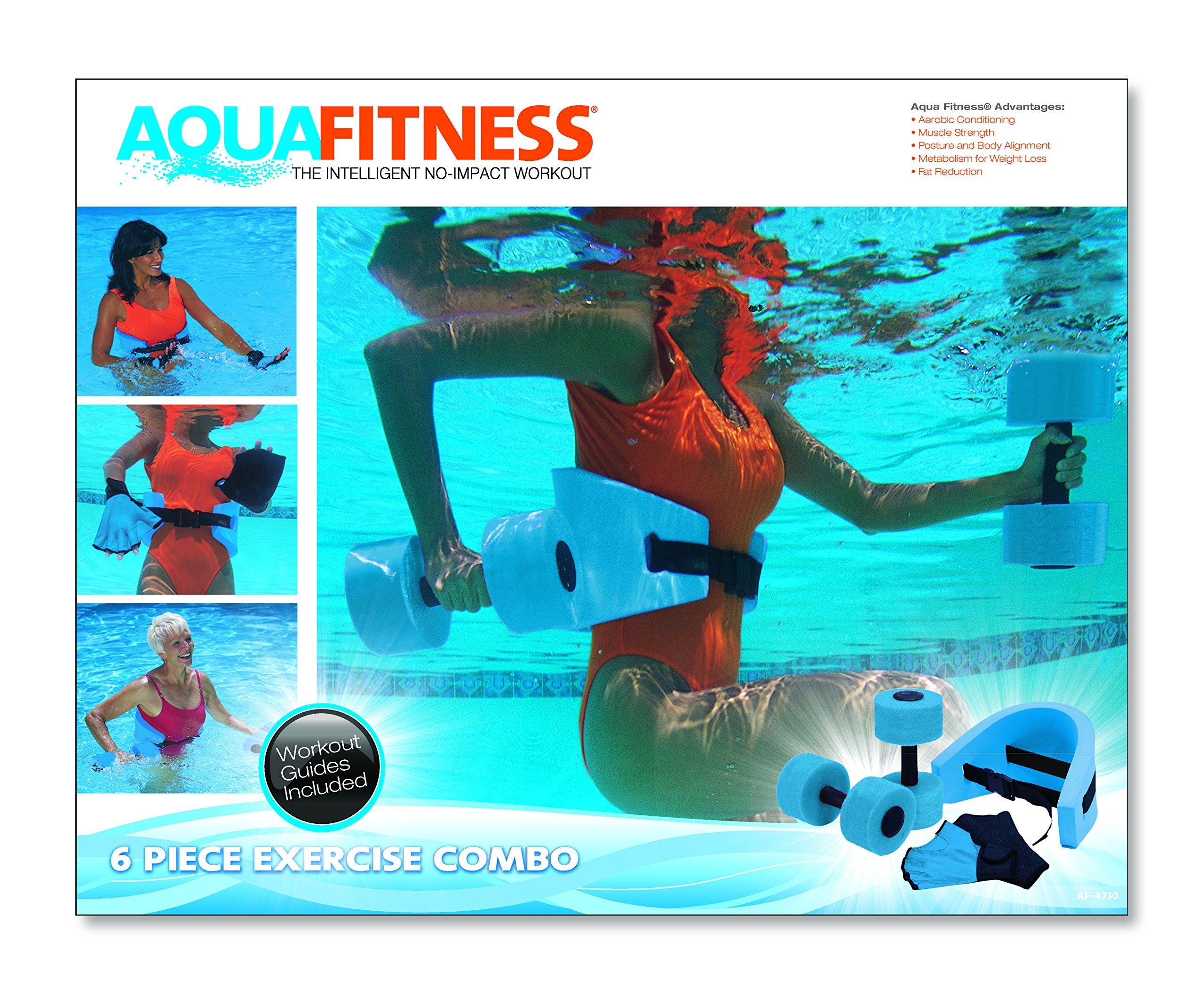 Aqua fitness exercise set 6 piece set water workout and aerobics floata ebay for Flotation belt swimming pool exercise equipment