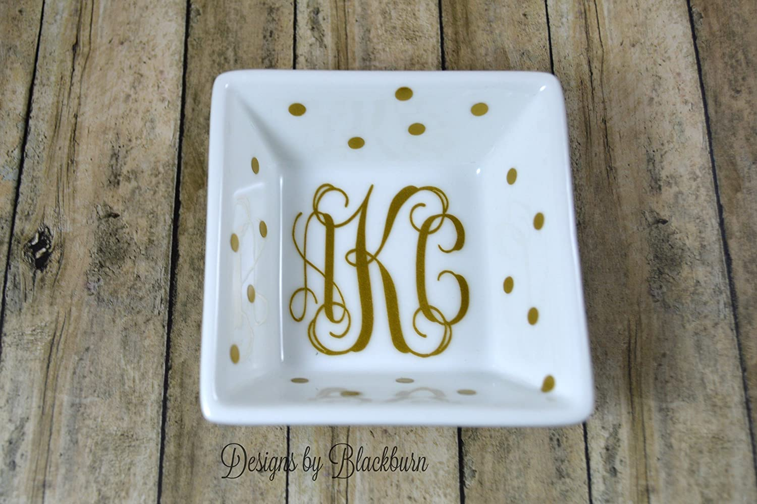 Monogram Jewelry Dish/Ring Dish with Polka Dots/Bridesmaid Gift/Mothers Day Gift for Her