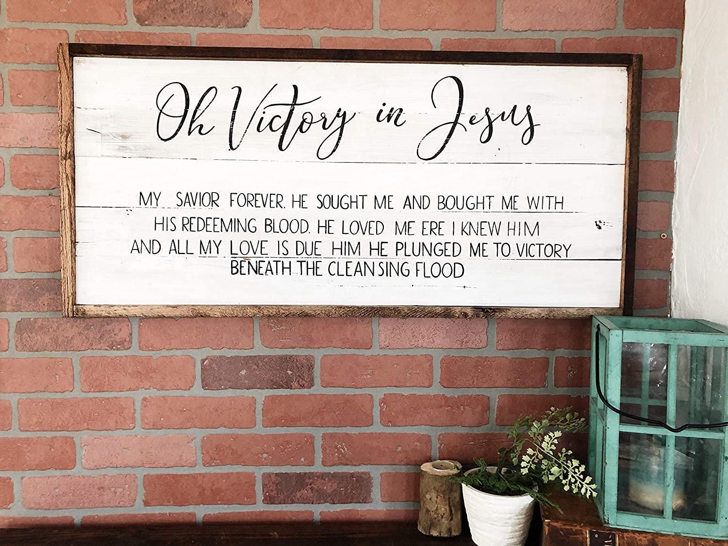 CELYCASY Oh Victory in Jesus hymn Lyrics Wooden Sign Home Decor Wall Art