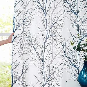 "Fmfunctex Blue White Semi-Sheer Curtain Panels for Living Room Bedroom 63"" Grey Tree Branch Print Linen Textured Curtain Set Light Filtering Window Treatment Draperies Rod Pocket 50""w 2-Pack"