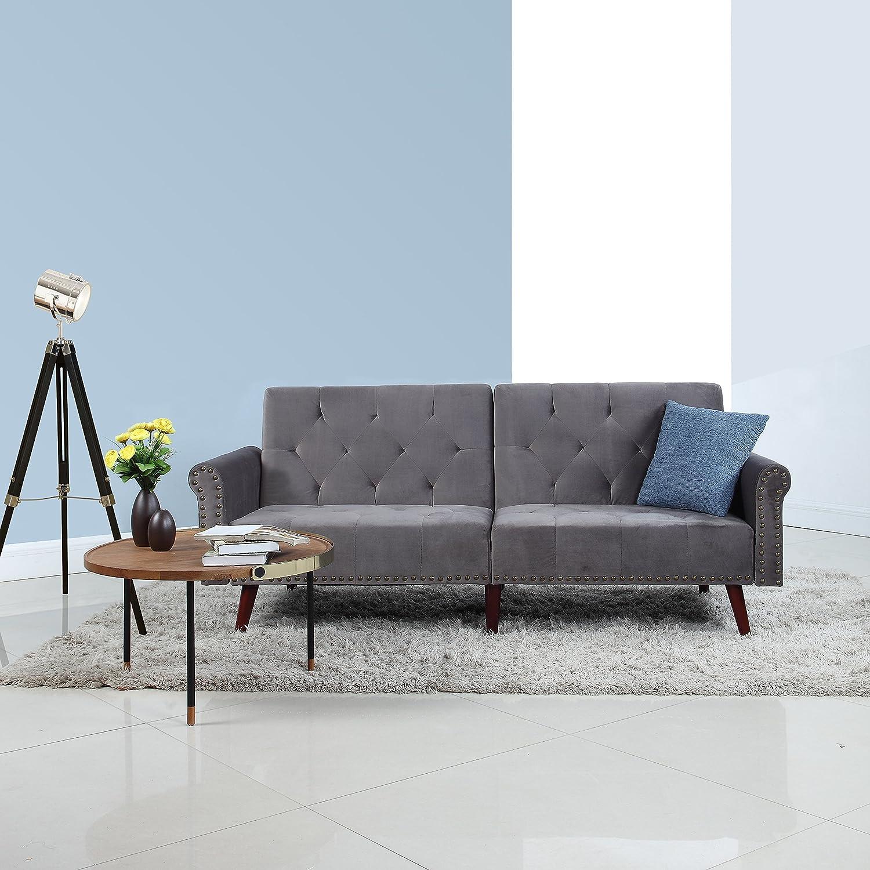Divano Roma Furniture Modern Tufted Velvet Splitback Recliner Sleeper Futon Sofa with Nailhead Trim (Dark Grey), Small