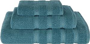 American Soft Linen Set of 3, 100% Organic Turkish Premium & Luxury Towels Bathroom Sets, 1 Bath Towel 27x54 inch, 1 Hand Towel 16x28 inch & 1 Washcloth 13x13 inch [Worth $36.95] Colonial Blue
