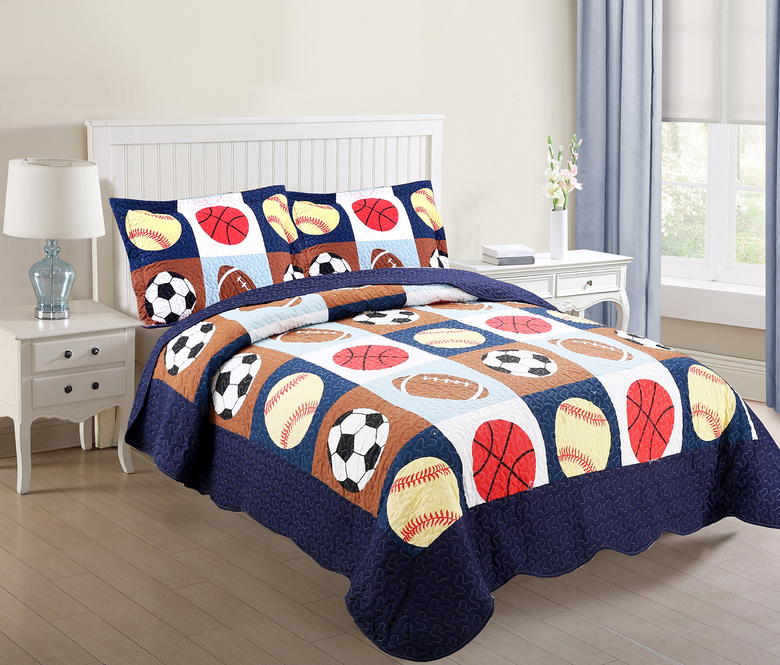 MarCielo 3 Piece Kids Bedspread Quilts Set Throw Blanket for Teens Boys Bed Printed Bedding Coverlet, Full Size, Blue Basketball Football Sports, American Football (Full)