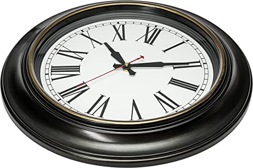 Bernhard Products Large Wall Clock 18 Inch Quality Quartz Silent Non Ticking Battery Operated For Home Living Room Over Fireplace Beautiful Decorative Timeless Roman Numeral Stylish Clock Dark Brown Kitchen Dining Amazon Com