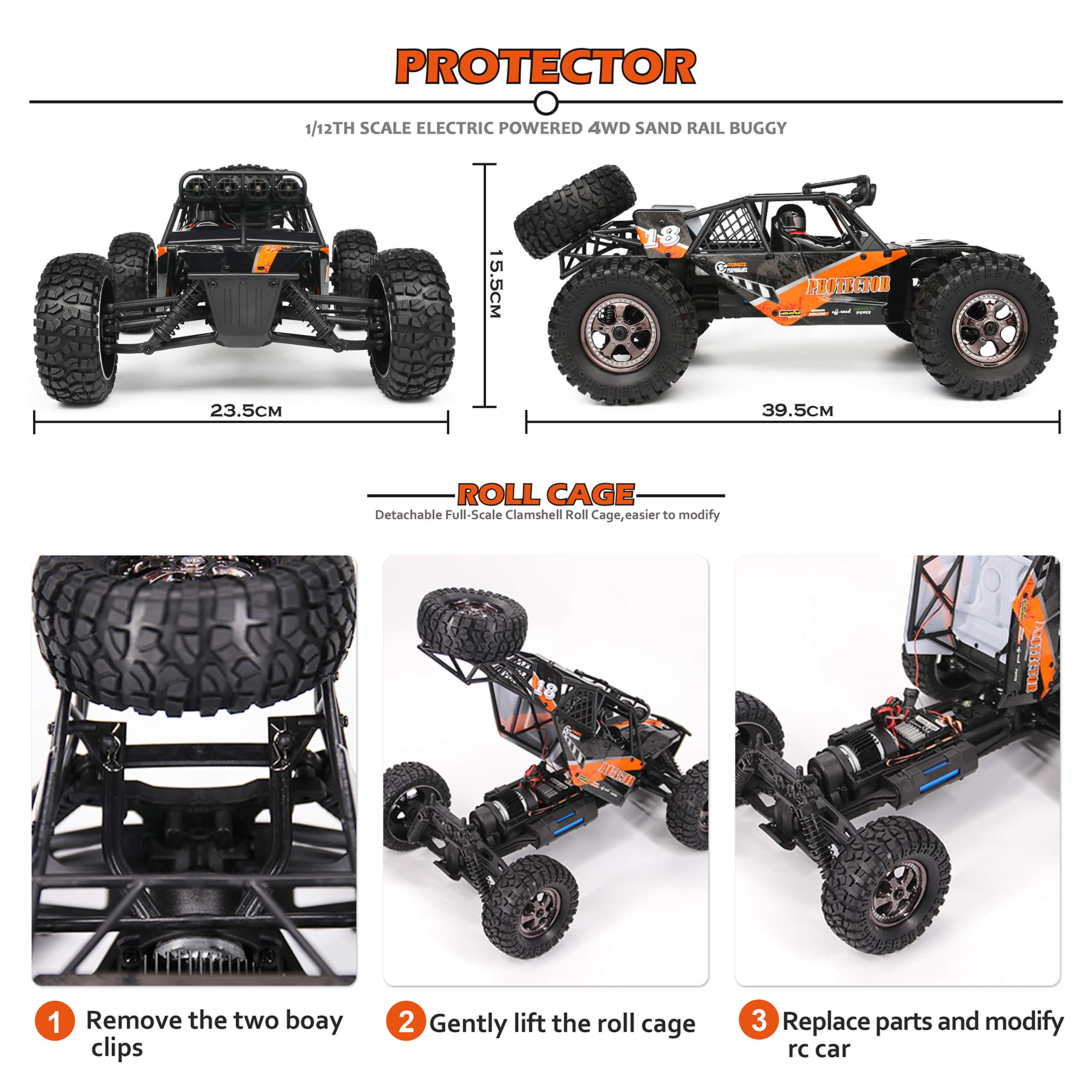 RC Cars Protector 1/12 Scale 4WD Off-Road Buggy 38+KM/H High Speed LED Lights, 2.4 GHz Radio Controlled All Terrain Waterproof Trucks RTR Electric Power Rechargeable Batteries 7.4 V 1500 mAh by BBM HOBBY (Image #3)
