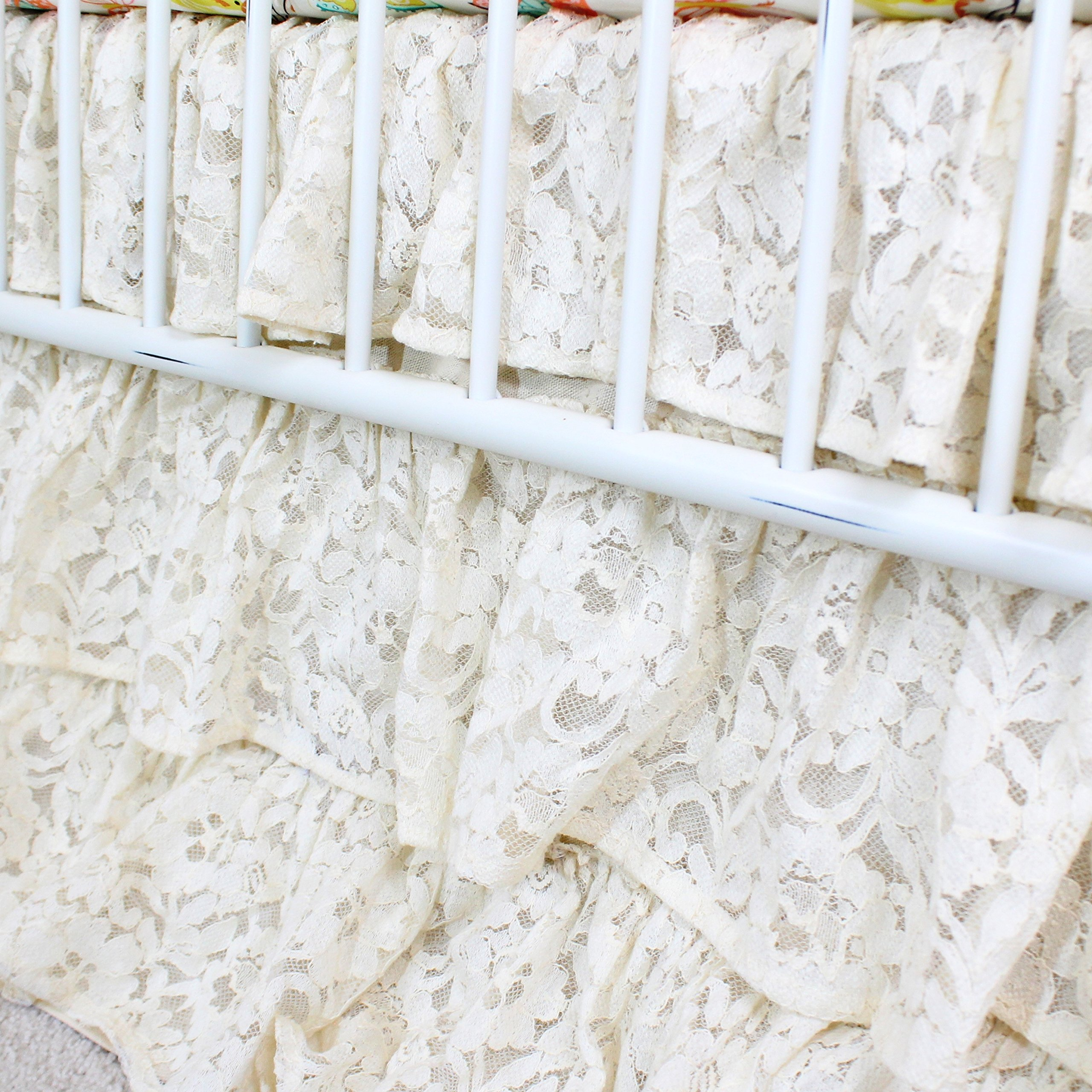 Vintage Lace 3 Tier Ruffled Waterfall Crib Skirt (Natural/Ivory/ Off white) by Bold Bedding