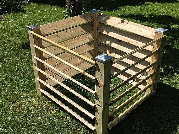 Jardín depot24 compostador Tabla KOM Póster De Madera con 4 Tapas de Postes galvanizado - 100 x 100 x 80 cm - Aprox. 650 L: Amazon.es: Hogar