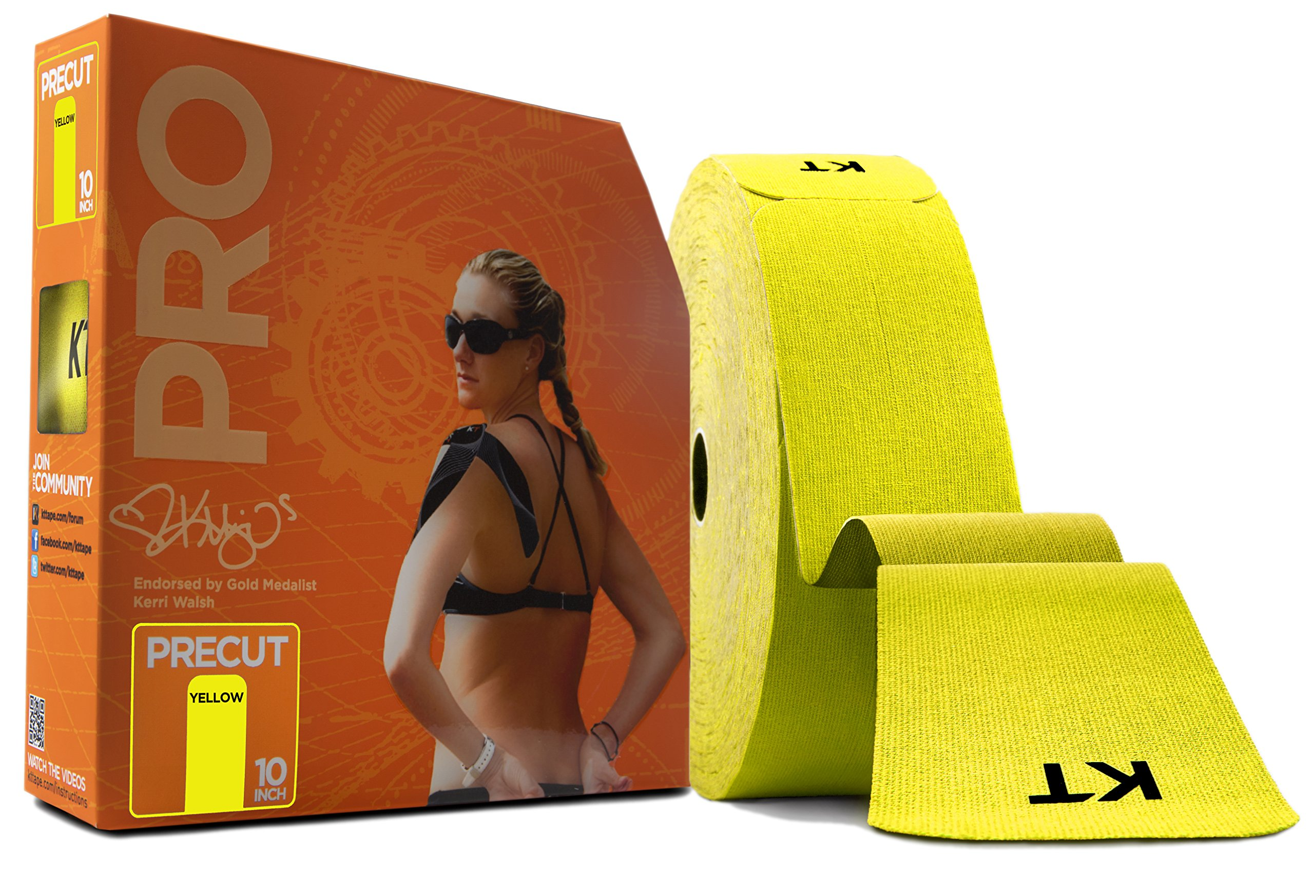 KT Tape PRO Synthetic Elastic Kinesiology Therapeutic Tape, Jumbo 150 Precut 10 Inch Strips, Yellow