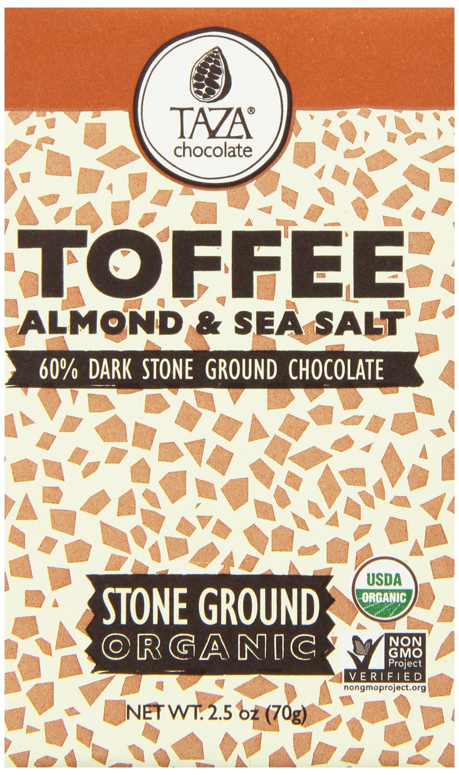 Taza Chocolate | Amaze Bar | Toffee, Almond & Sea Salt| 60% Stone Ground | Certified Organic | Non-GMO | 2.5 Ounce (1 Count)