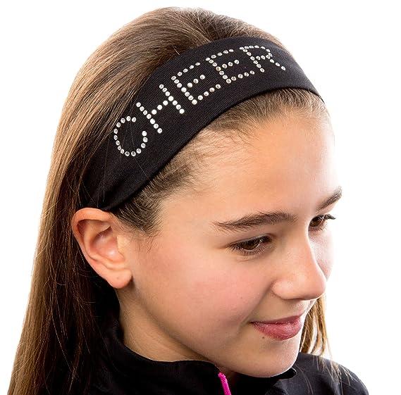 CHEER Rhinestone Cotton Stretch Headband (Black) at Amazon Women s ... 4e3093a8e28