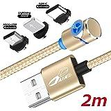 DAIAD 2m L字型 強力マグネット 360度回転 USB充電ケーブル Type-C Micro USB Lightning 三端子対応 3in1 タイプC/マイクロUSB/ライトニング Android iPhone磁石 着脱式 防塵 1本4役 ケーブルのぬきさし不要 2メートル ロングケーブル 寝転がってスマホをらくらく充電! (ゴールド)