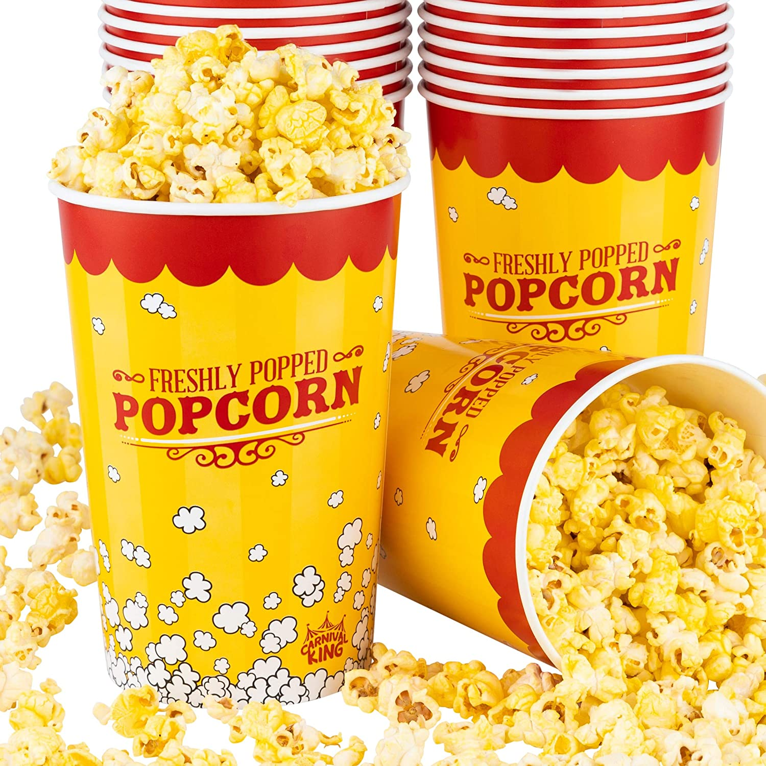 Stock Your Home 64 Oz Popcorn Buckets (25 Count) - Greaseproof Vintage Style Popcorn Tubs - Disposable Popcorn Containers for Movie Theaters, Amusement Parks, Circus, Concession Stands, Themed Parties