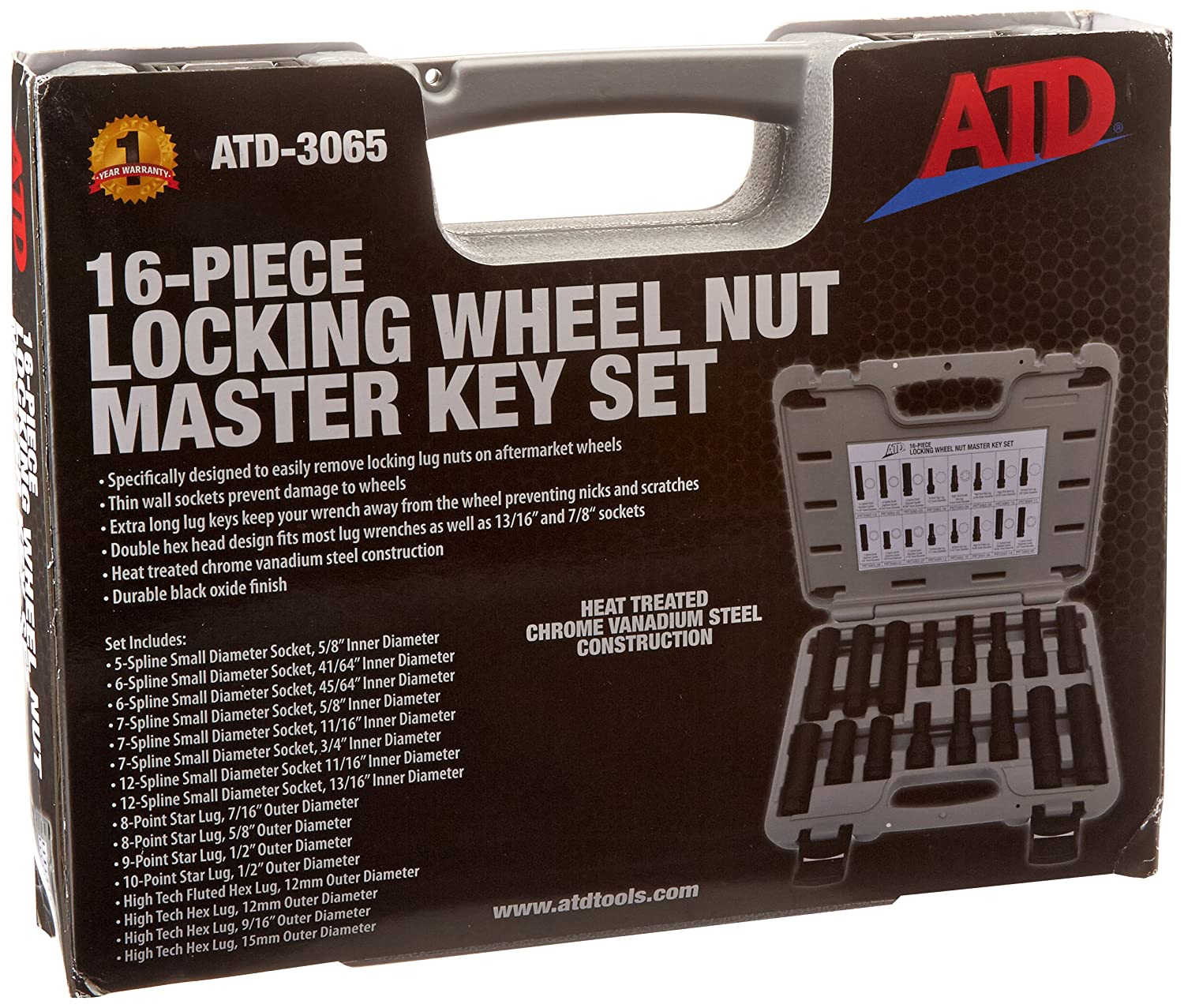 ATD Tools 3065 16-Piece Locking Wheel Nut Master Key Set