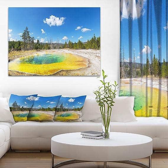 Amazon Com Designart Pt8973 20 12 Morning Glory Pool With Bright Sky Landscape Photo Canvas Print 20x12 12 H X 20 W X 1 D 1p Blue Posters Prints