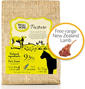 Wishbone Dry Dog Food – Pasture – Grain Free New Zealand Lamb, All Life Stages – 4lb.