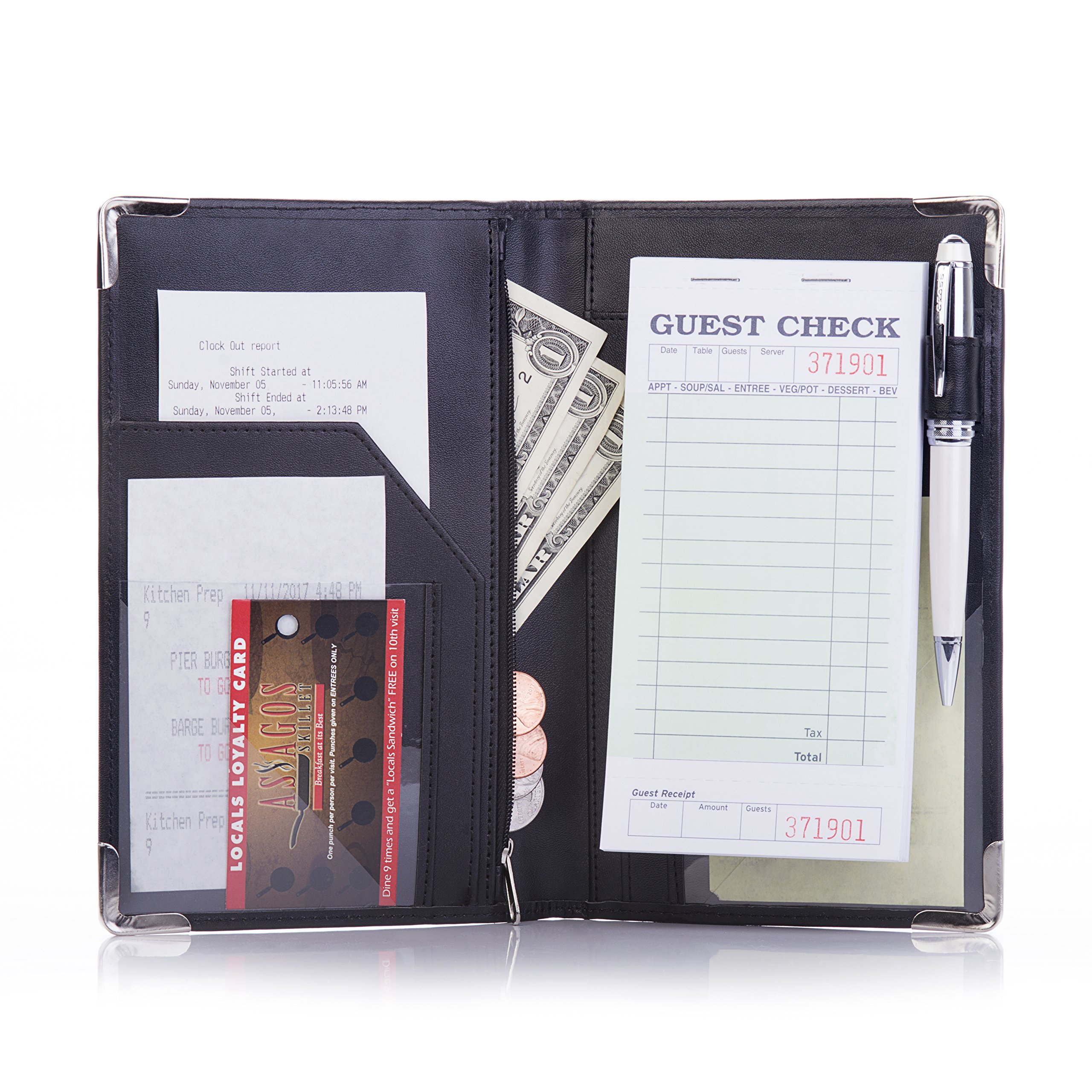 Deluxe Server Book Organizer for Restaurant Waiter Waitress Waitstaff | Comfortably Fits in Apron | 9 Pockets includes Zipper Pouch with Pen Holder | Holds Guest Checks, Money, Order Pad
