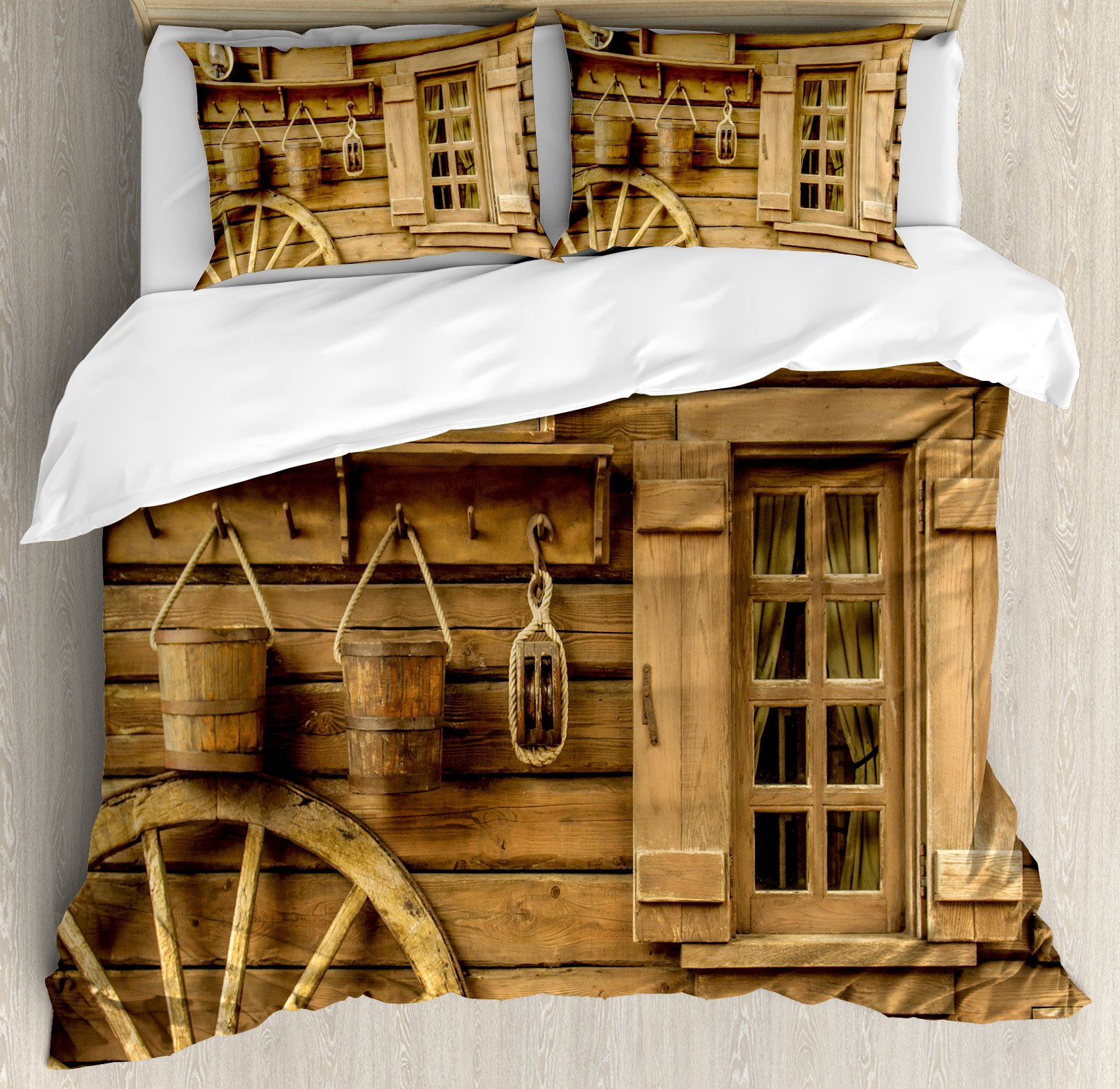Western Decor King Size Duvet Cover Set by Ambesonne, Ancient old Wagon Wheel next to with Vintage Lantern Window and Retro Buckets, Decorative 3 Piece Bedding Set with 2 Pillow Shams