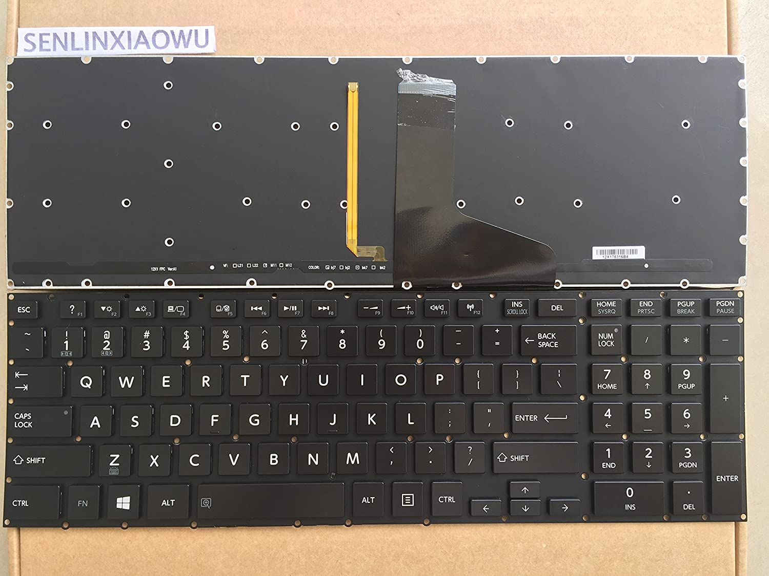 Laptop Replacement Keyboard Fit Toshiba Satellite P50-A P50T-A P55-A P55T-A P55-A5200 US Layout with Backlight