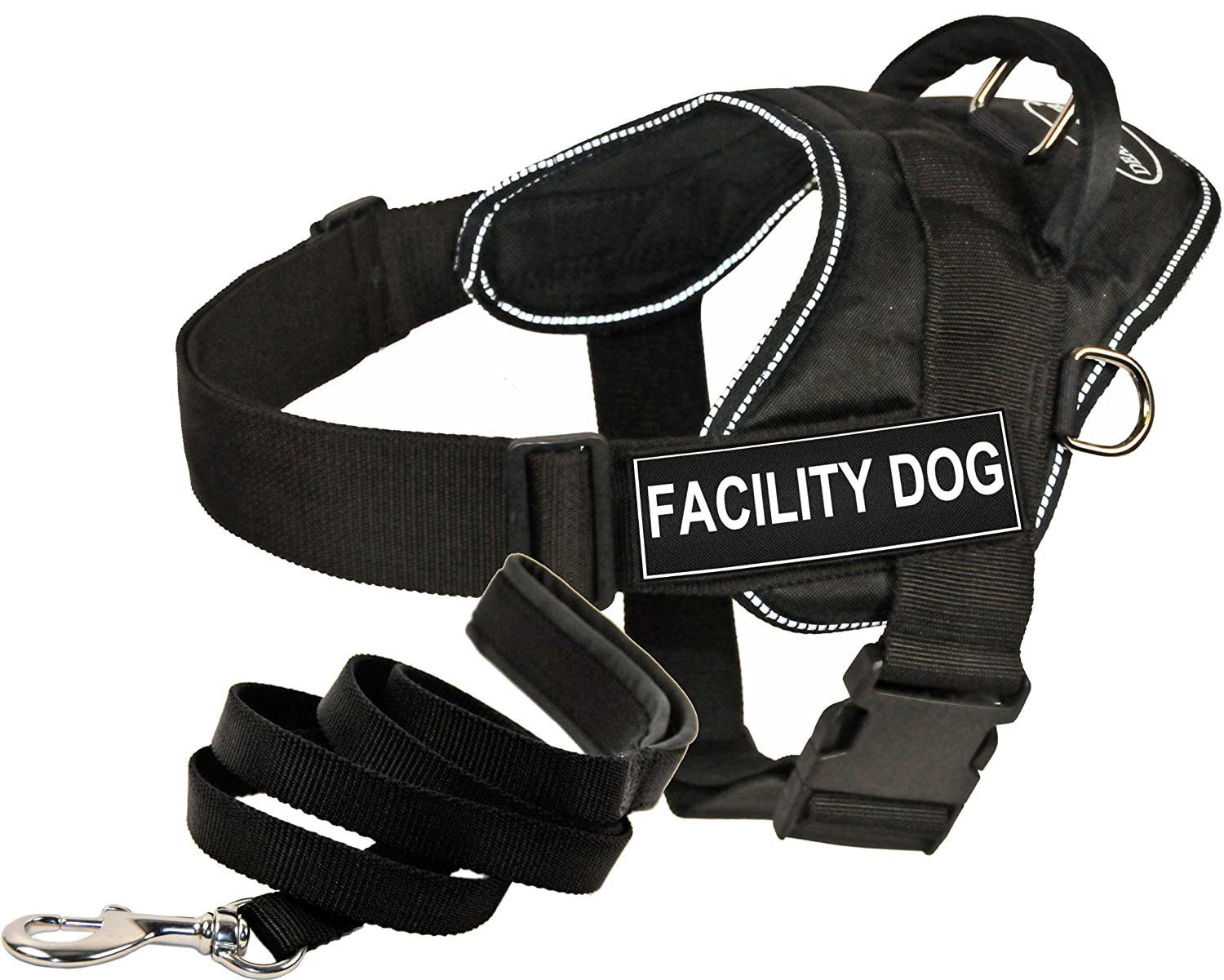 Dean and Tyler Bundle One DT Fun Works  Harness, Facility Dog, Reflective, Medium + One Padded Puppy  Leash, 6 FT Stainless Steel Snap Black