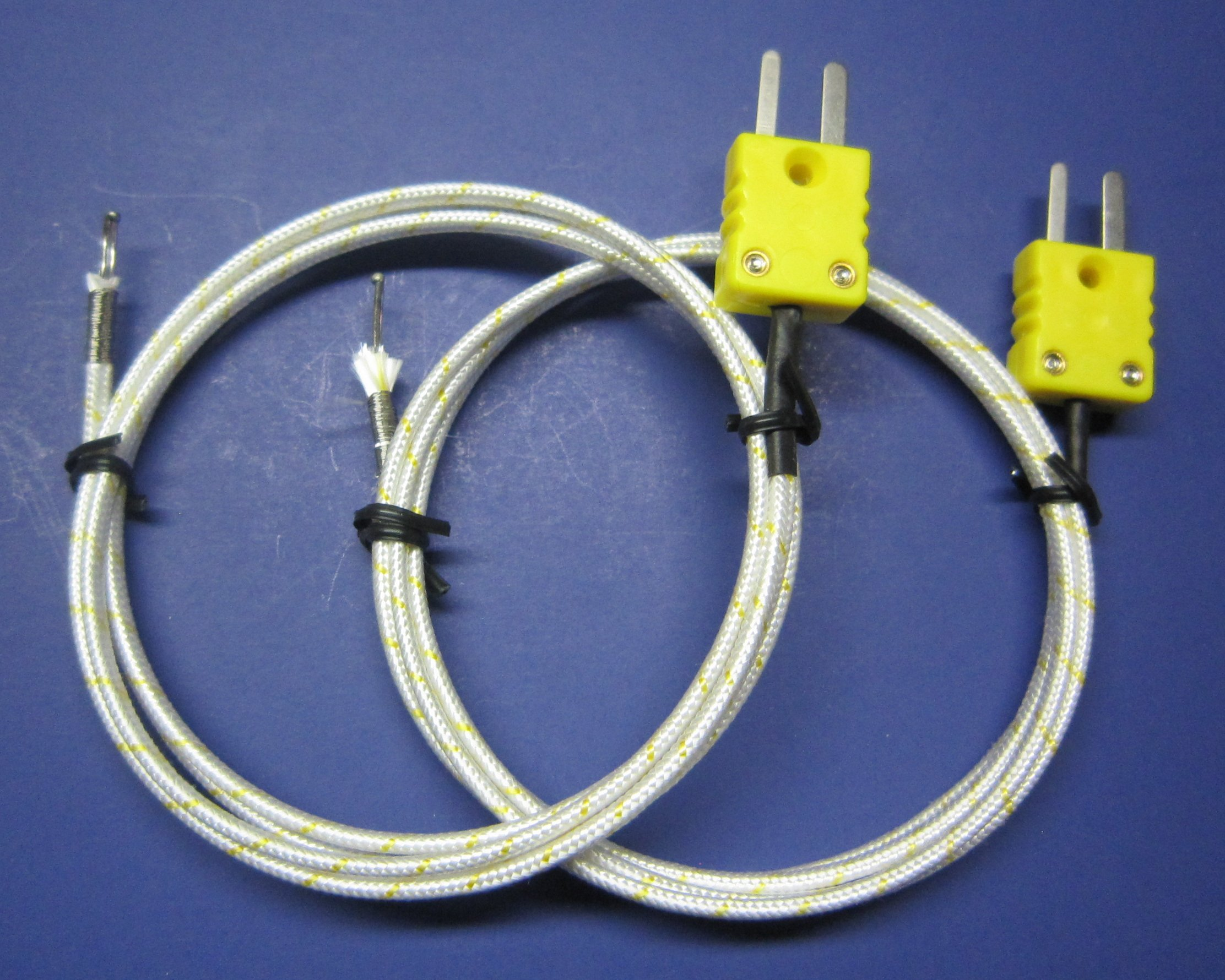 K-Type Thermocouple PK-1000 Temperature Sensor Probe w. High Temperature Fiber Insulation 1832F or 1000C (Set of 2)