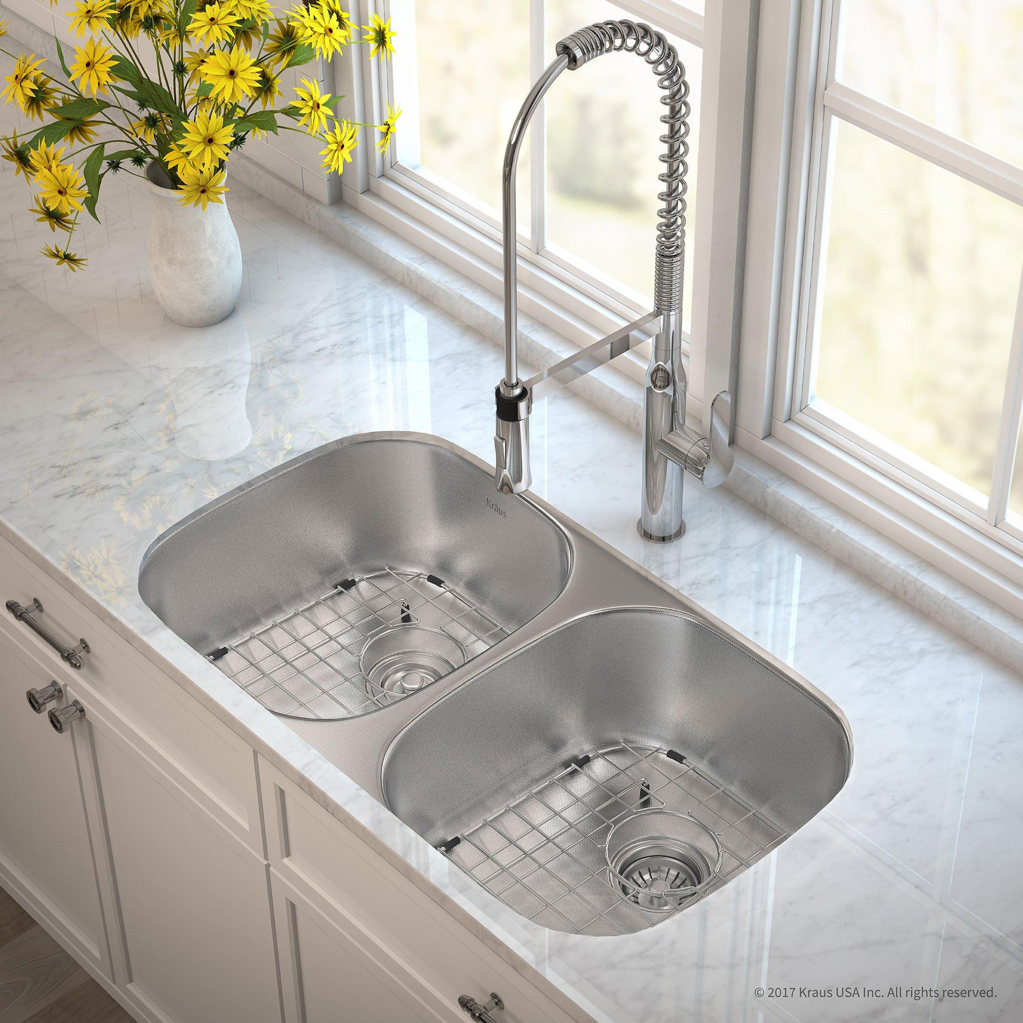 Kraus Outlast MicroShield Scratch-Resist Stainless Steel Undermount 50/50 Double Bowl Sink, 32'' 16 Gauge, Premier Series KBU22E by Kraus (Image #2)