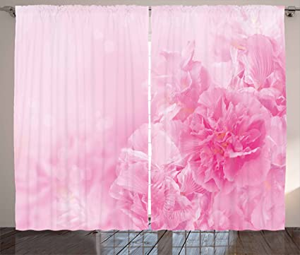 Amazon.com: Ambesonne Light Pink Curtains, Spring Flowers Close Up ...