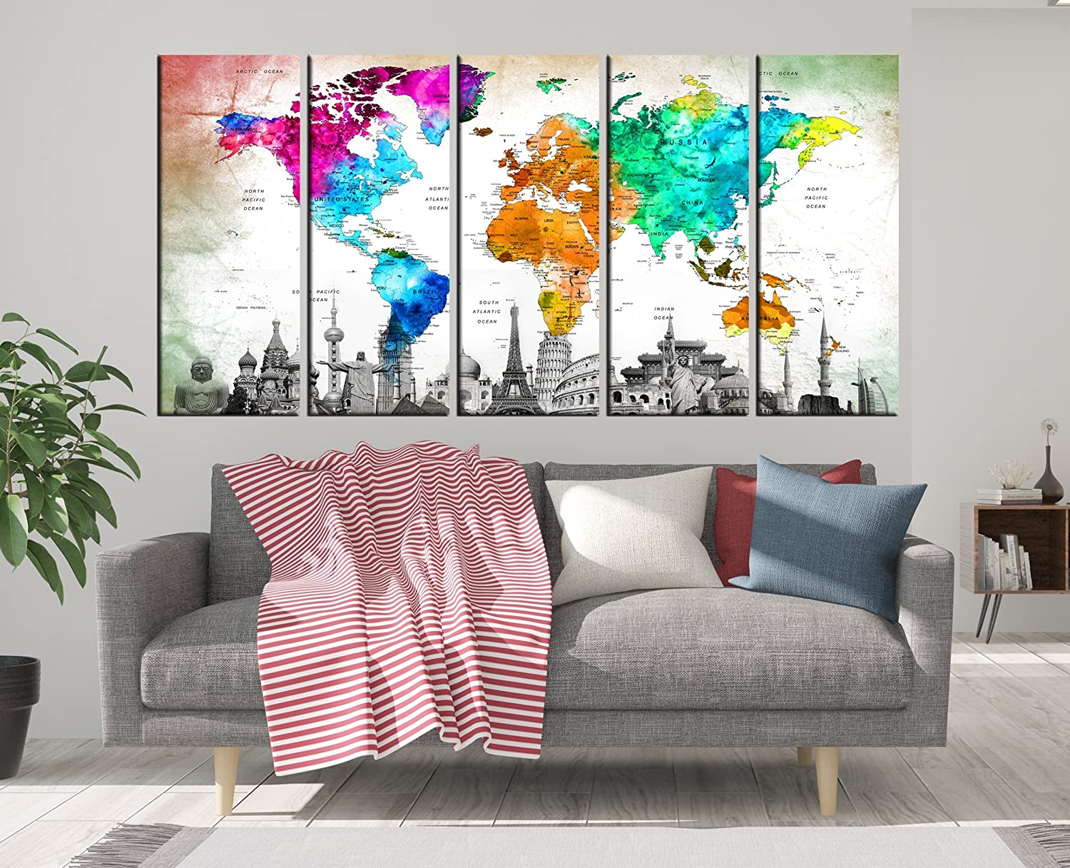 Amazon com detailed world map large wall art for living room push