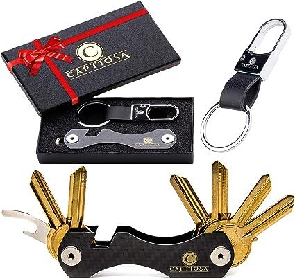 Smart Key Holder Key Organizer Llavero compacto hecho de fibra de carbono, Keyport Organizador de hasta 28 llaves - Bricolaje Multiuso - SIM y abridor ...