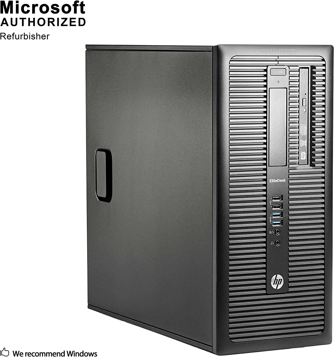 HP EliteDesk 800 G1 Tower Desktop PC, Intel Quad Core i5-4590 up to 3.7GHz, 8G DDR3, 512G SSD, DVD, WiFi, BT 4.0, Windows 10 64 Bit-Multi-Language Supports English/Spanish/French(Renewed)