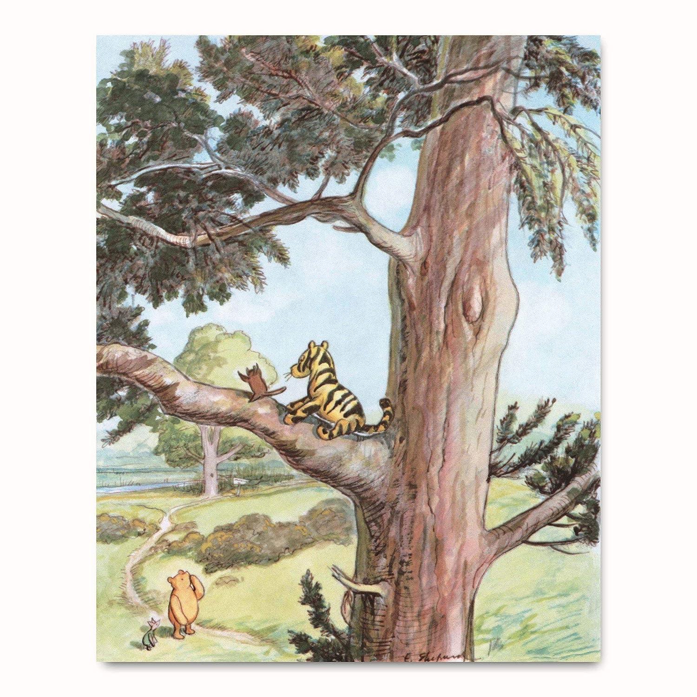 Classic Winnie The Pooh Print Storybook Kids Wall Art Girls Room Baby Boy Nursery Decor Tigger Up A Tree 8x10 Unframed