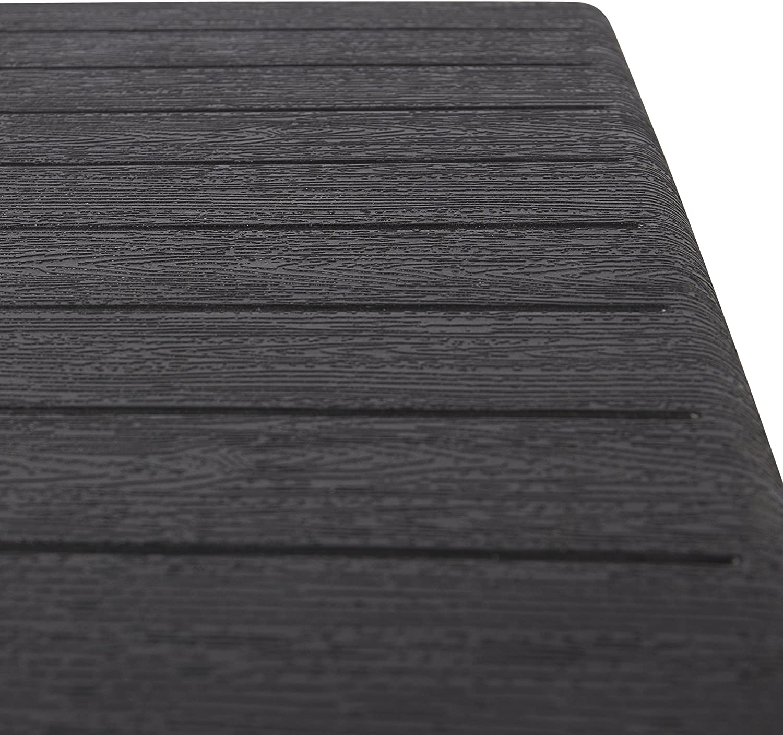 Forma Quadrata 61,5 x 61,5 x 73 cm Robusta Struttura in Acciaio e Piano in Plastica HDPE Effetto Legno Park Alley Tavolino Pieghevole da Giardino Marrone