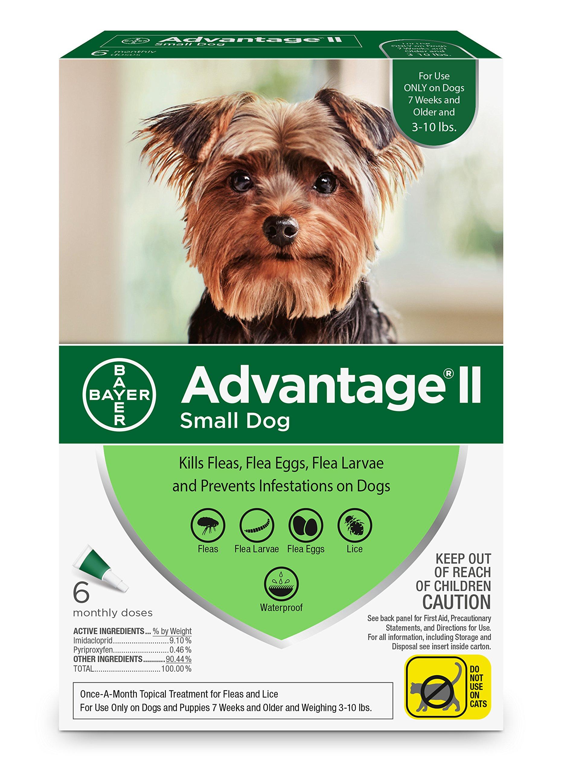 Bayer Advantage II Flea and Lice Treatment for Small Dogs, 3-10 lb, 6 doses